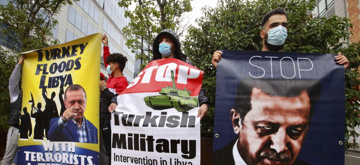 Protestors against Turkish military