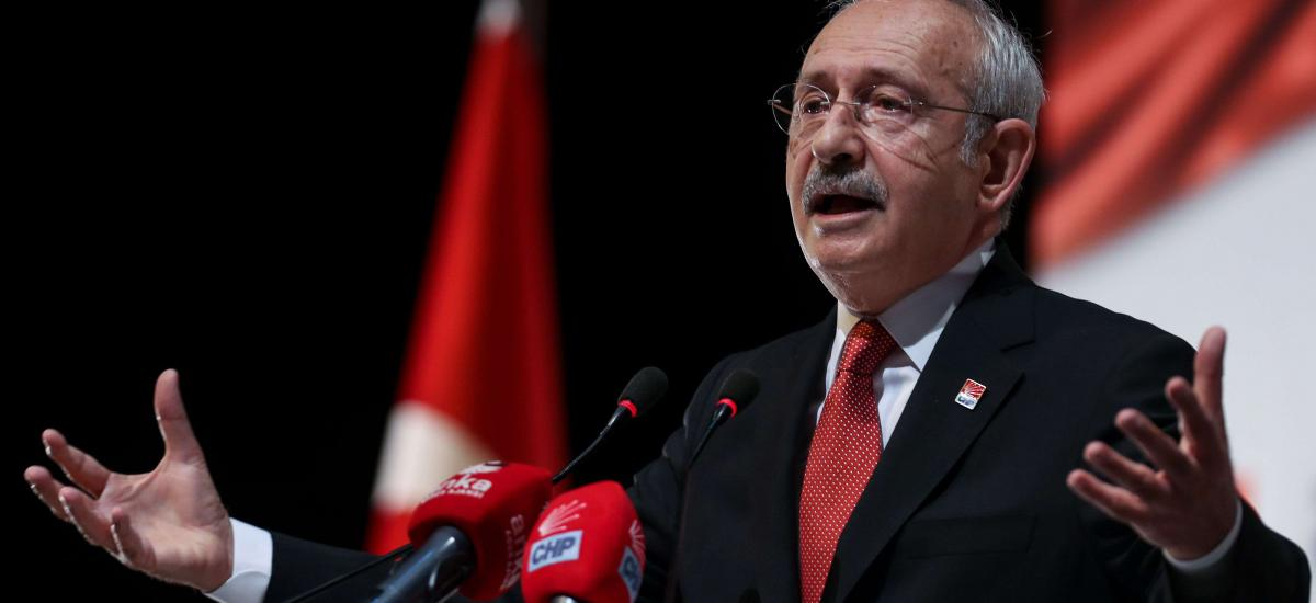 Main opposition Republican People's Party (CHP) leader Kemal Kilicdaroglu makes a press statement at his party's headquarters in Ankara, on September 16, 2020. (Photo by Adem ALTAN / AFP)