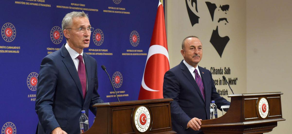 NATO Secretary General Stoltenberg in Turkey  HANDOUT - 05 October 2020, Turkey, Ankara: Turkish Foreign Minister Mevlut Cavusoglu (R) and NATO Secretary General Jens Stoltenberg hold a joint press conference after their meeting. Photo: -/NATO/dpa