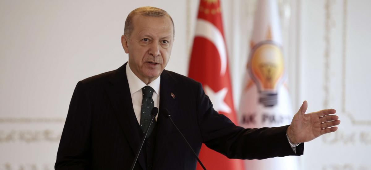 Turkey's President Recep Tayyip Erdogan speaks virtually to ruling party members from his Vahdettin Pavilion, in Istanbul, Sunday, Nov. 22, 2020. (Turkish Presidency via AP, Pool)