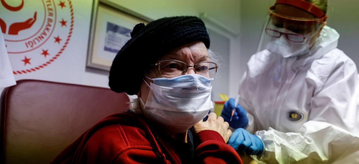 Nursing home resident receives a shot of the Sinovac's CoronaVac COVID-19 vaccine in Ankara, Turkey, January 19, 2021. REUTERS/Umit Bektas