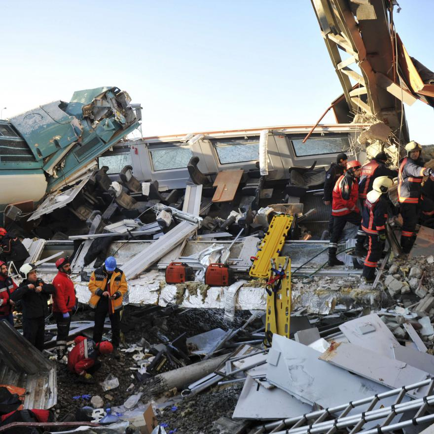 Members of rescue services work at the scene of a train accident in Ankara, Turkey, Thursday, Dec. 13, 2018. (AP)