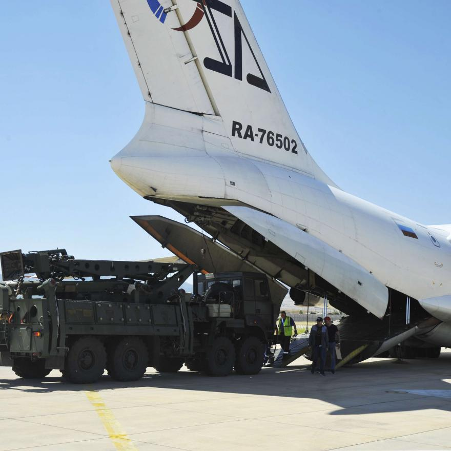 In this Tuesday, Aug. 27, 2019 file photo, a Russian transport aircraft, carrying parts of the S-400 air defense systems, lands at Murted military airport outside Ankara, Turkey. The Trump administration is imposing sanctions on its NATO ally Turkey over its purchase of a Russian air defense system. A Turkish defense official sanctioned by the United States said Tuesday, Dec. 15, 2020, that bilateral relations will not be affected despite the Trump administration's decision to finally punish Turkey for its